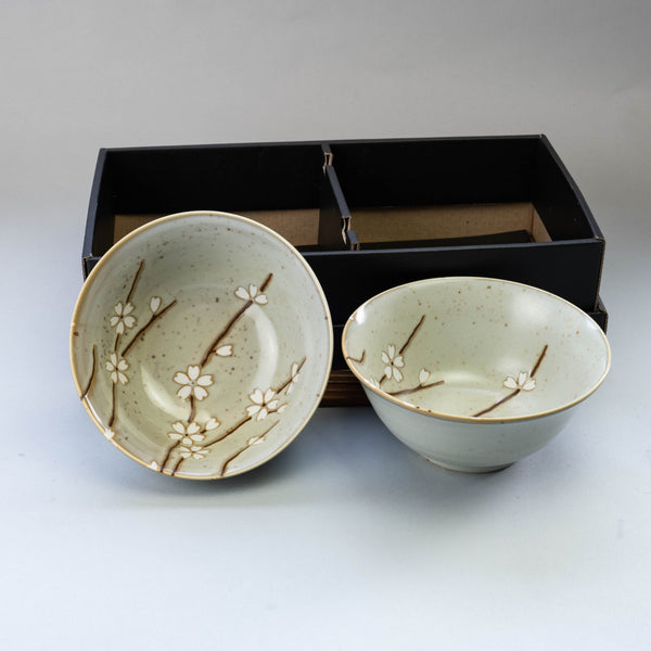 Mashiko Sakura Bowl and Chopsticks Set