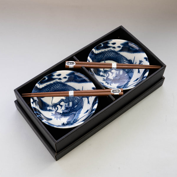 Blue Dragon Bowl and Chopsticks Set