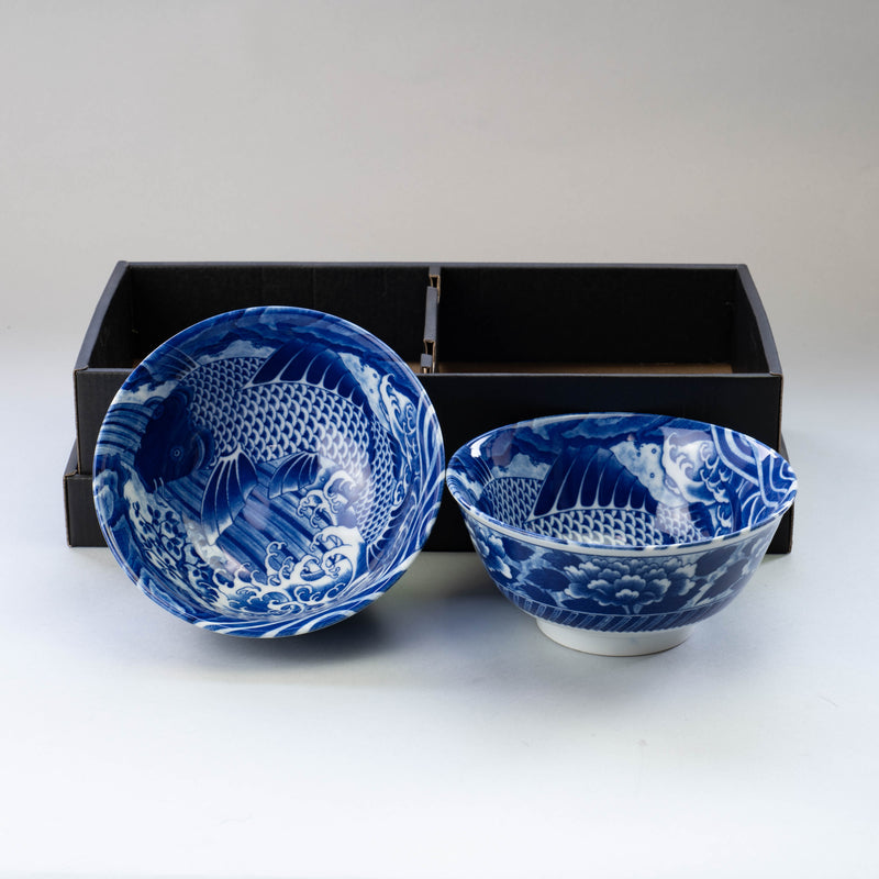 Blue KOI Bowl and Chopsticks Set