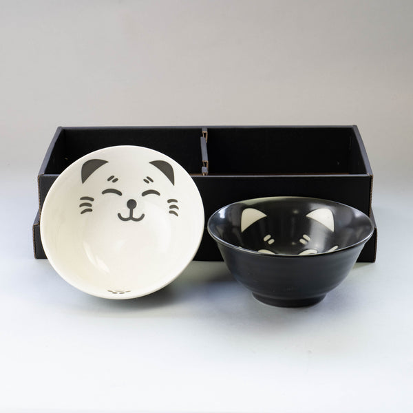 Black and White Cat Bowl and Chopsticks Set