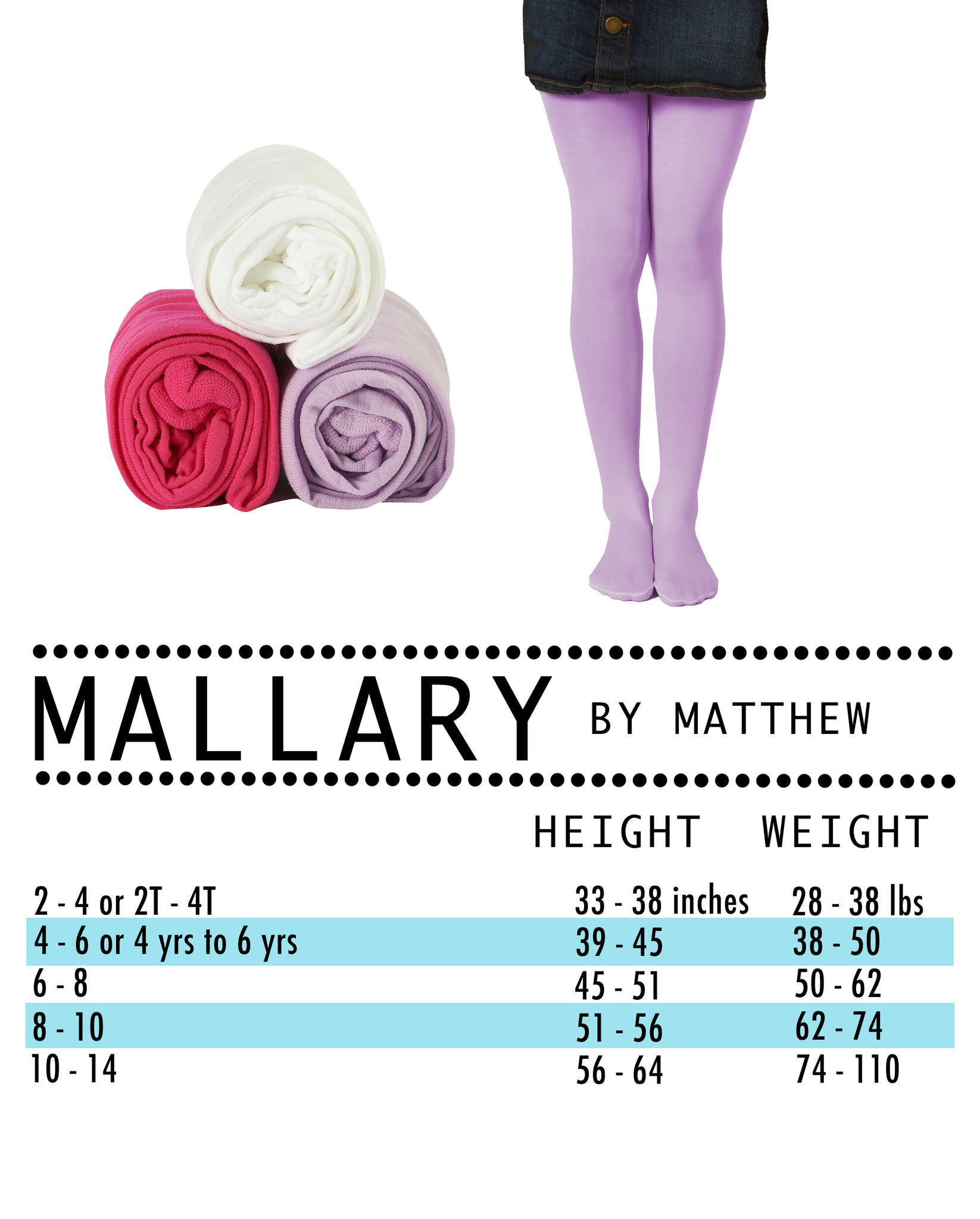 10 to 14 Mallary Girls Microfiber Tights 3-Pack Multi Color White, Black, Pink