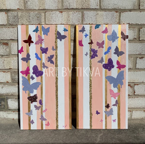 Ascent home decor. nursery decor. butterfly painting. wall art.