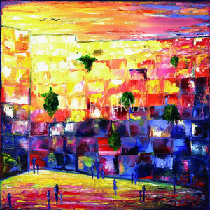 Geula colorful kotel painting. oil painting. jewish. judaica. judaica art. jerusalem painting. jewish art. judaica art.