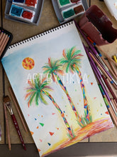 Load image into Gallery viewer, Mosaic Palms Original.Mosaic Palms Original. beverly hills palm tree painting. interior decorating. home decor. watercolor painting. fine art.