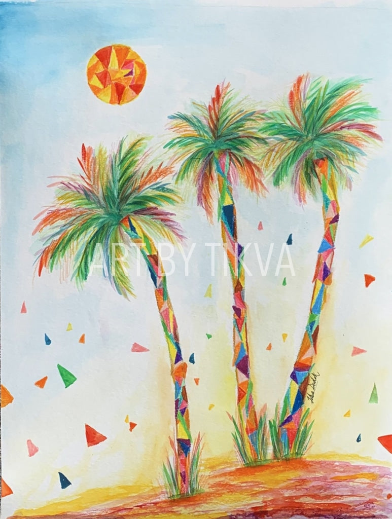 Mosaic Palms Original. beverly hills palm tree painting. interior decorating. home decor. watercolor painting. fine art.