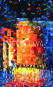 My Kotel colorful  kotel painting. oil painting. jewish. judaica. judaica art. jerusalem painting. jewish art. judaica art.