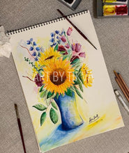 Load image into Gallery viewer, Sunflowers In Bloom. sunflower painting. interior decorating. home decor. watercolor painting. fine art.