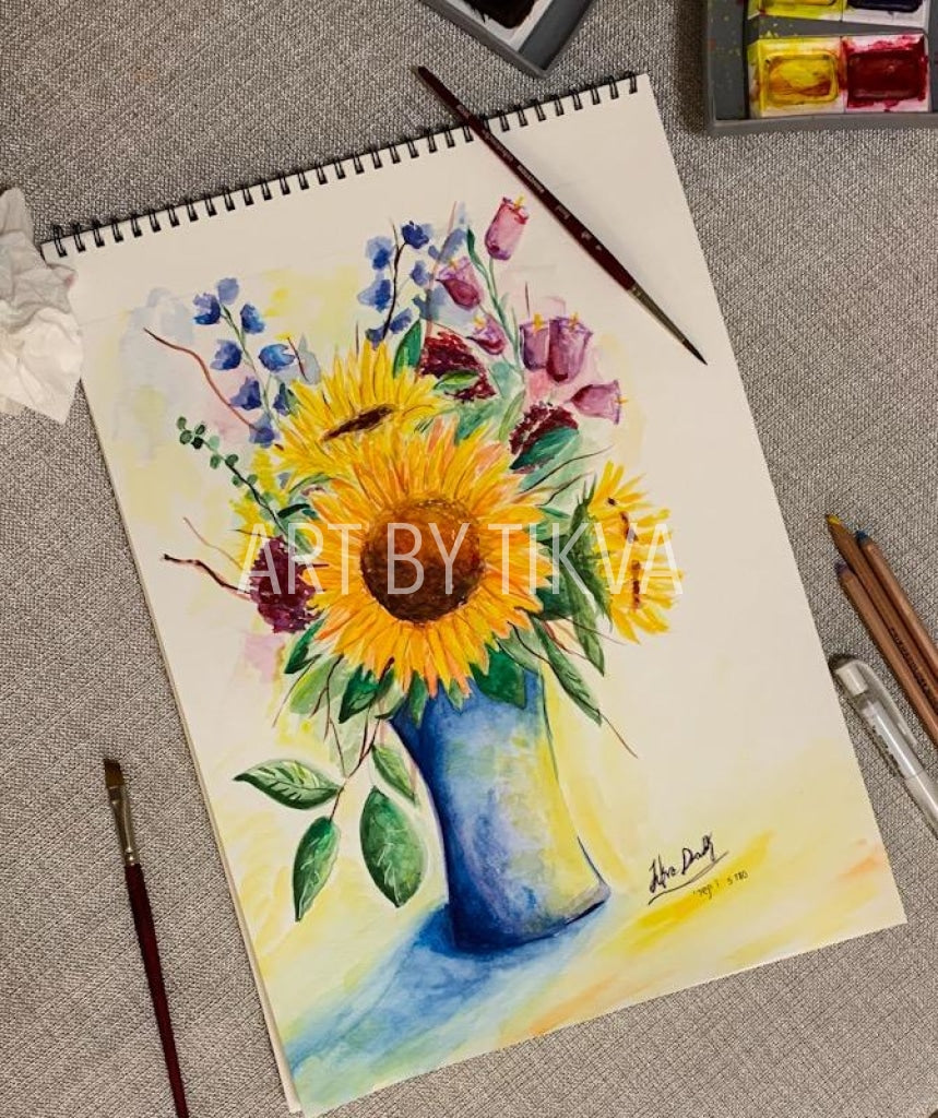 Sunflowers In Bloom. sunflower painting. interior decorating. home decor. watercolor painting. fine art.