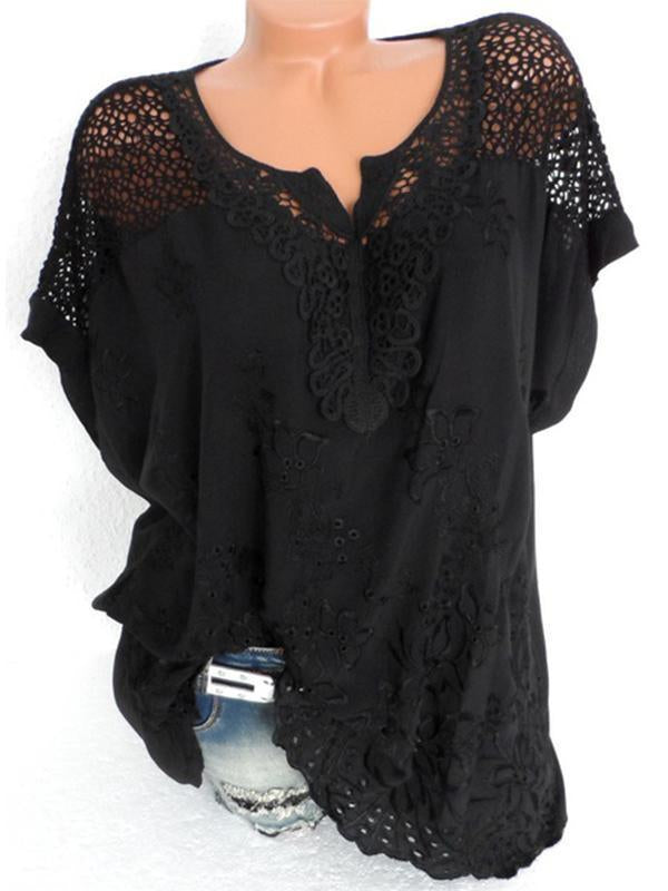 74154f43387292 Woman Fashion Openwork Lace T-Shirt Embroidered Tops Short Sleeve Blouse