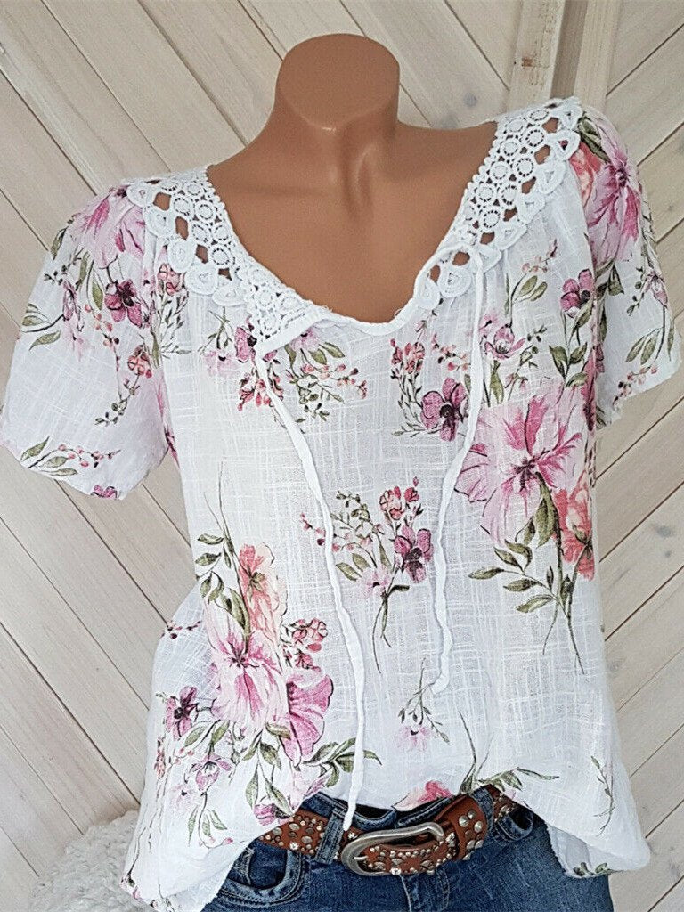 Women's Floral Printed Short Sleeve V-neck Tops Lace Blouse