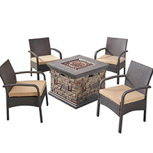 Load image into Gallery viewer, Patio Fire Pit Set, 4-Seater with Club Chairs - Artificial Waterfalls
