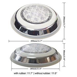 "Aliyeah Φ11.7"" LED RGB Underwater Swimming Pool Light 36W 12V AC/DC 304 Stainless Steel Color Changing Surface/Wall Mounted Waterproof IP68 Submersible Inground Pool Light with Remote (7 FT POWER CORD - Artificial Waterfalls"