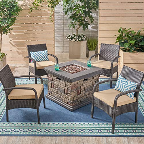 Patio Fire Pit Set, 4-Seater with Club Chairs - Artificial Waterfalls