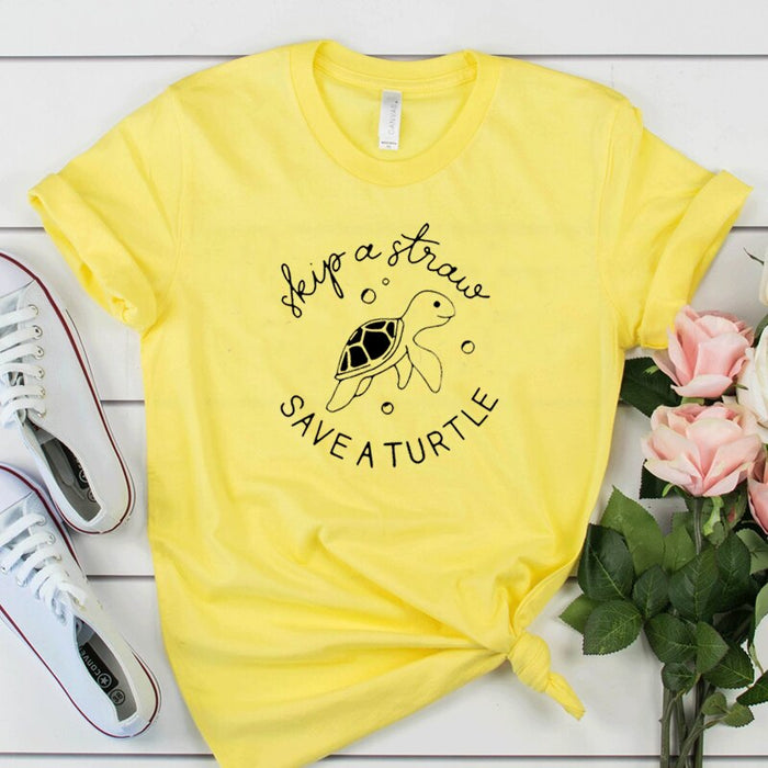 Skip A Straw Save A Turtle T-Shirt - Cool Trends