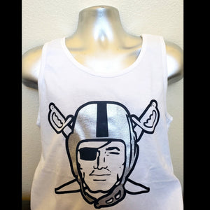 RAIDERS SILVER PLATED WHITE TANK TOP