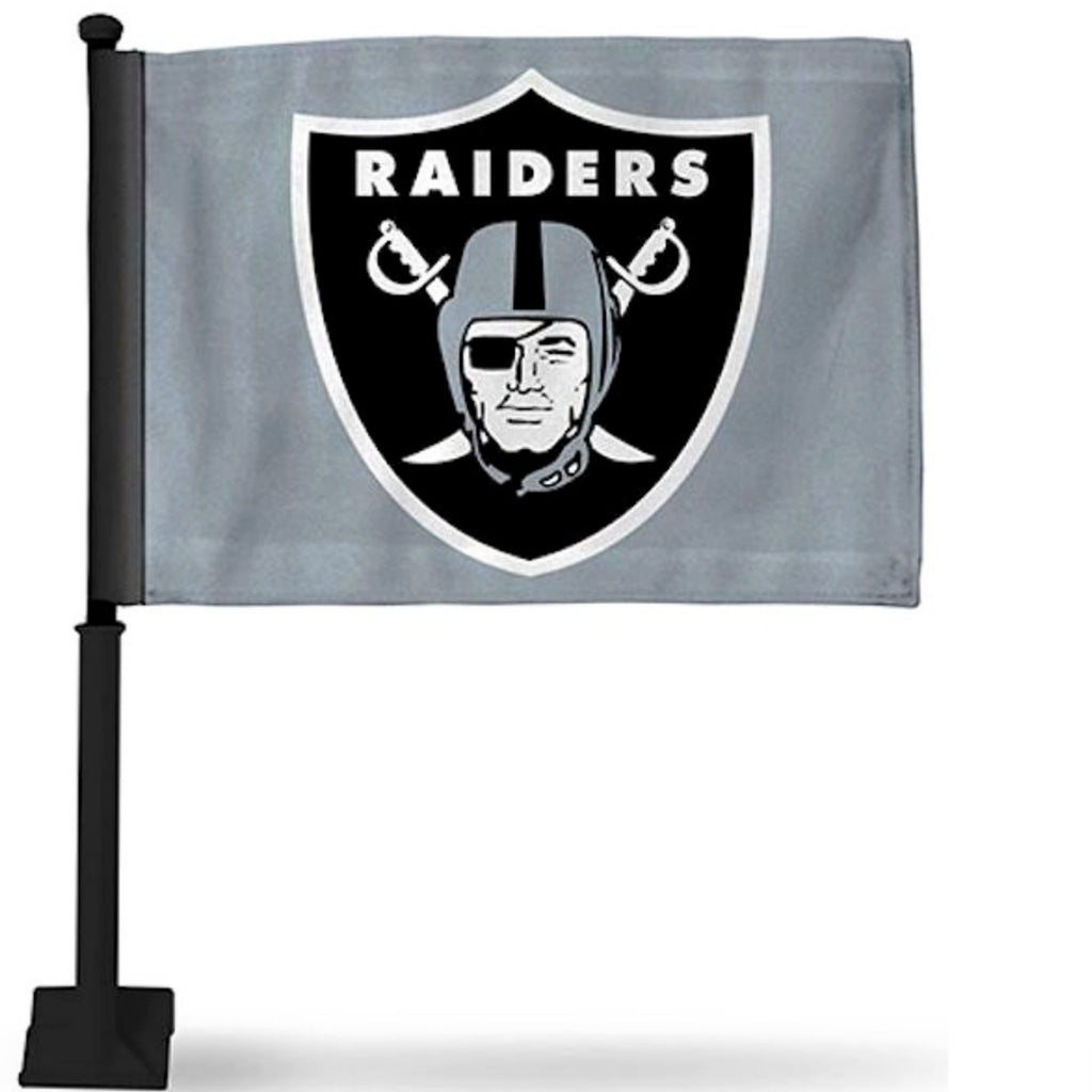 RAIDERS SILVER CAR FLAG-RaiderNationStore