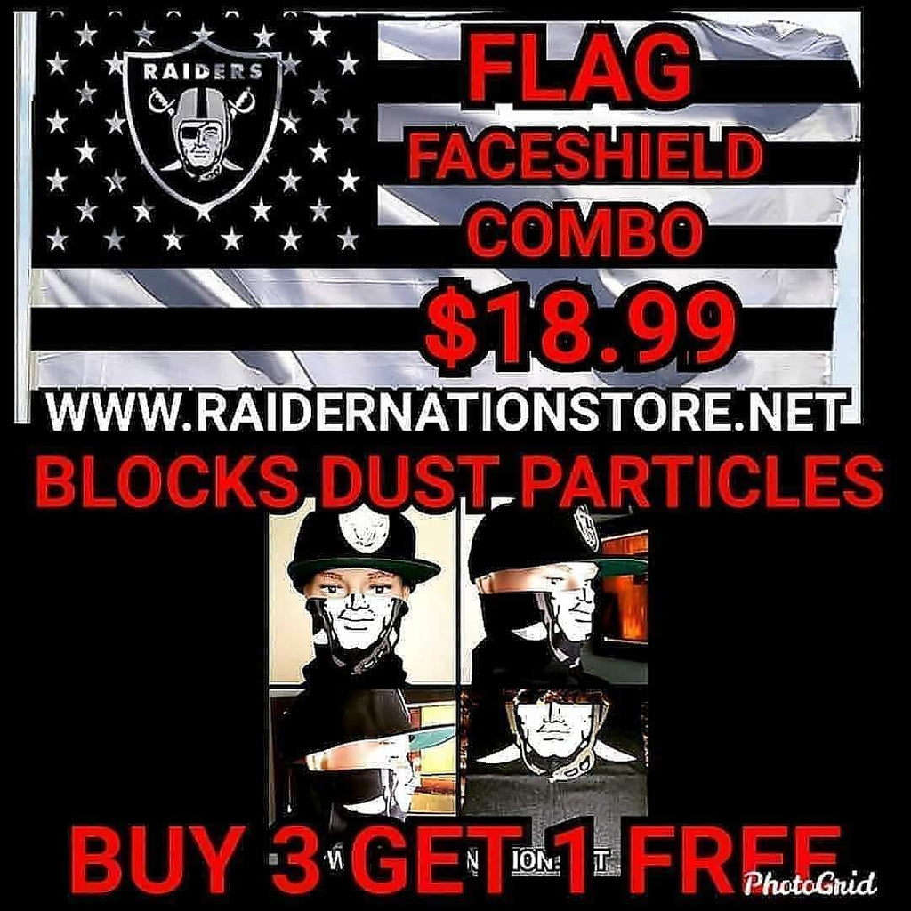 RAIDERS FLAG AND  FACESHIELD MASK COMBO