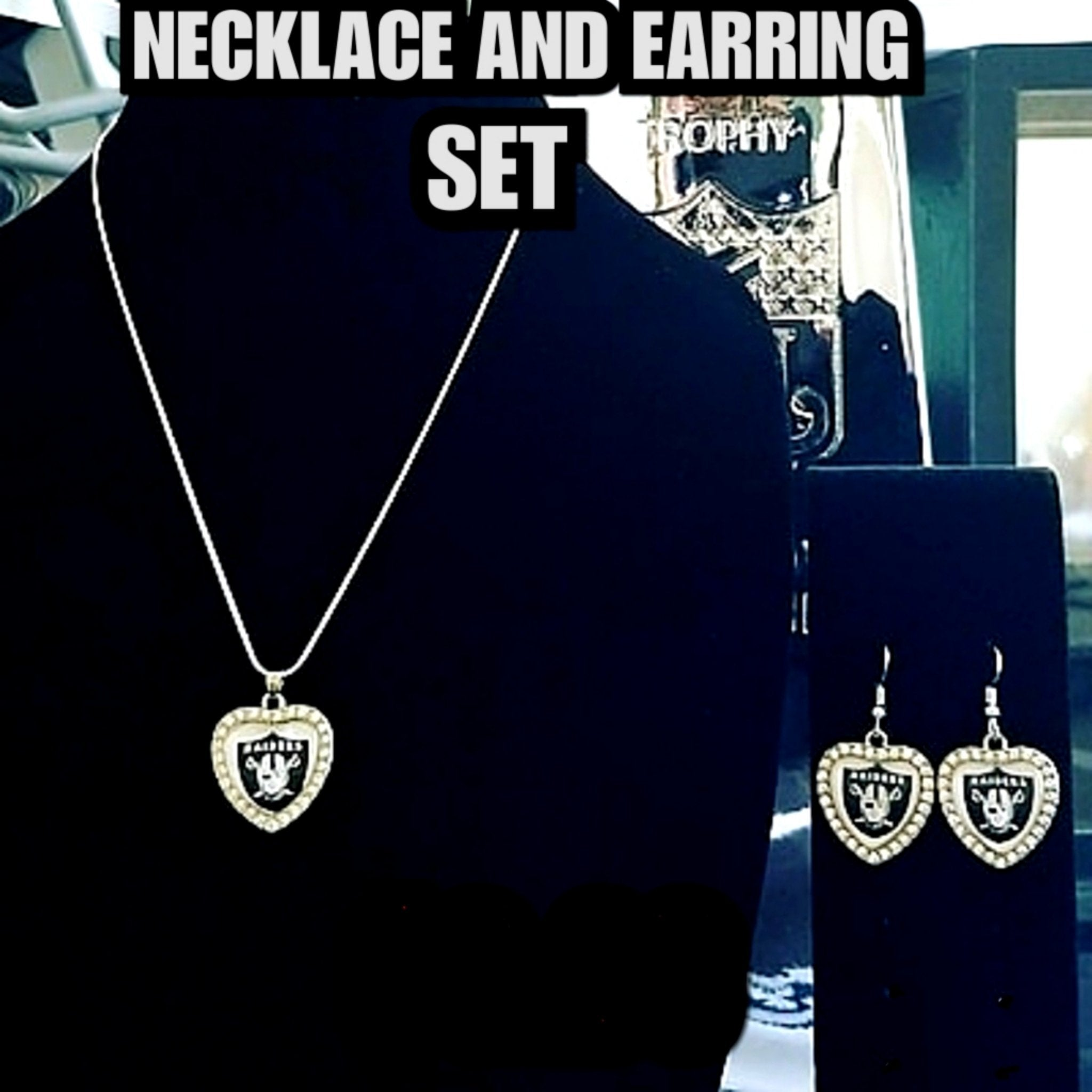 RAIDERS LADY NECKLACE AND EARRING SET-RaiderNationStore