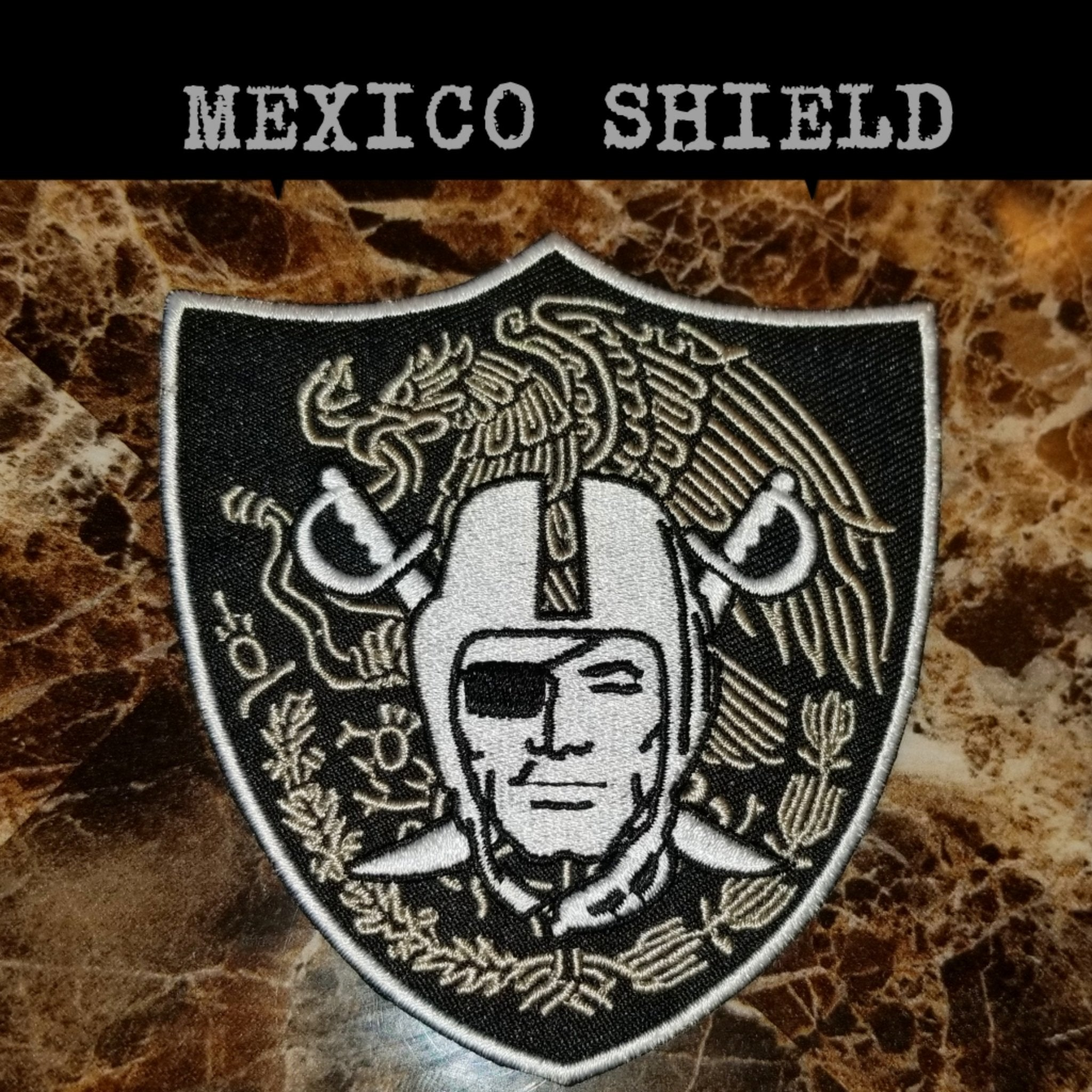 RAIDERS MEXICO SHIELD PATCH-RaiderNationStore