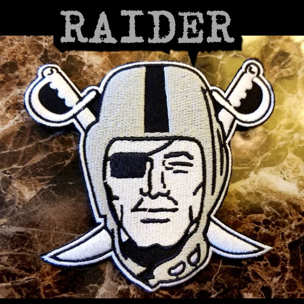 RAIDERS SILVER PIRATE PATCH