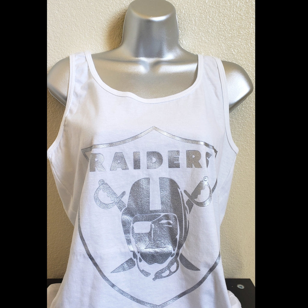 WOMENS WHITE SILVER PLATED TANK TOPS-RaiderNationStore
