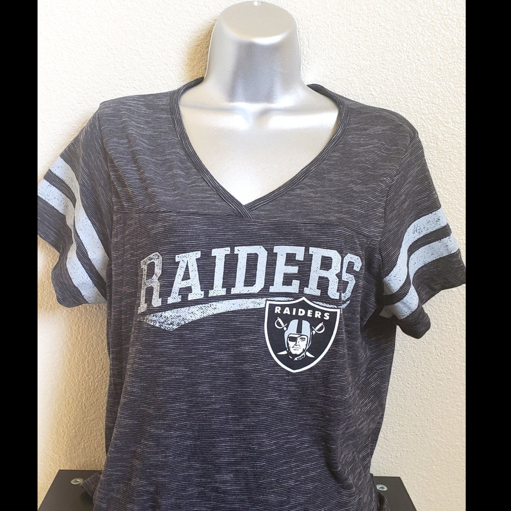 WOMENS RAIDERS V NECK SHIRT-RaiderNationStore