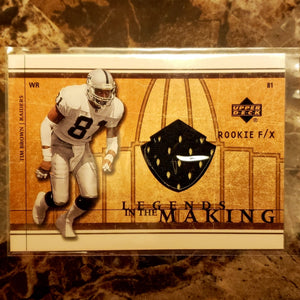 TIM BROWN ROOKIE GAME WORN JERSEY CARD
