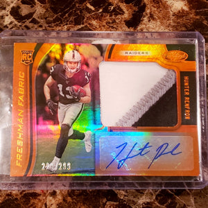 HUNTER RENFROW AUTOGRAPHED PLAYER WORN JERSEY ROOKIE CARD