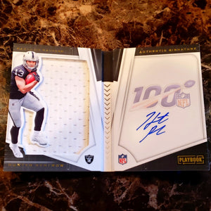 HUNTER RENFROW AUTOGRAPHED PLAYER WORN JERSEY ROOKIE CARD PLAYBOOK GOLD-RaiderNationStore