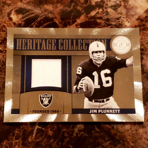 JIM PLUNKETT GAME WORN JERSEY RELIC PATCH CARD