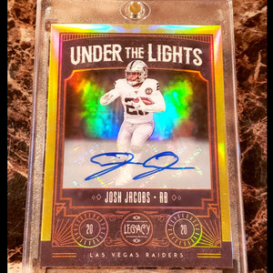 JOSH JACOBS GOLD LEGACY UNDER THE LIGHTS AUTOGRAPHED CARD EXTREMELY RARE