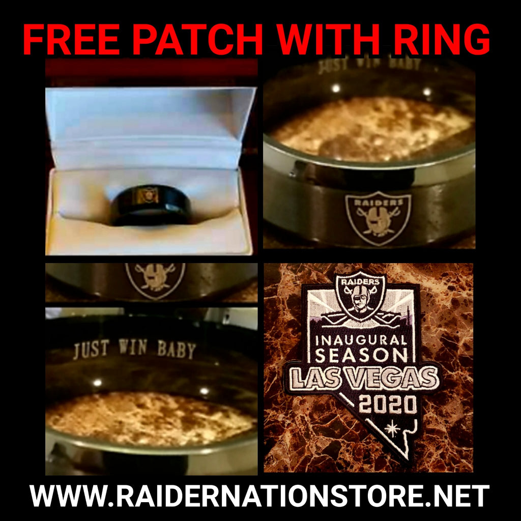 RAIDERS BLACK JUST WIN BABY RING AND INAUGURAL PATCH