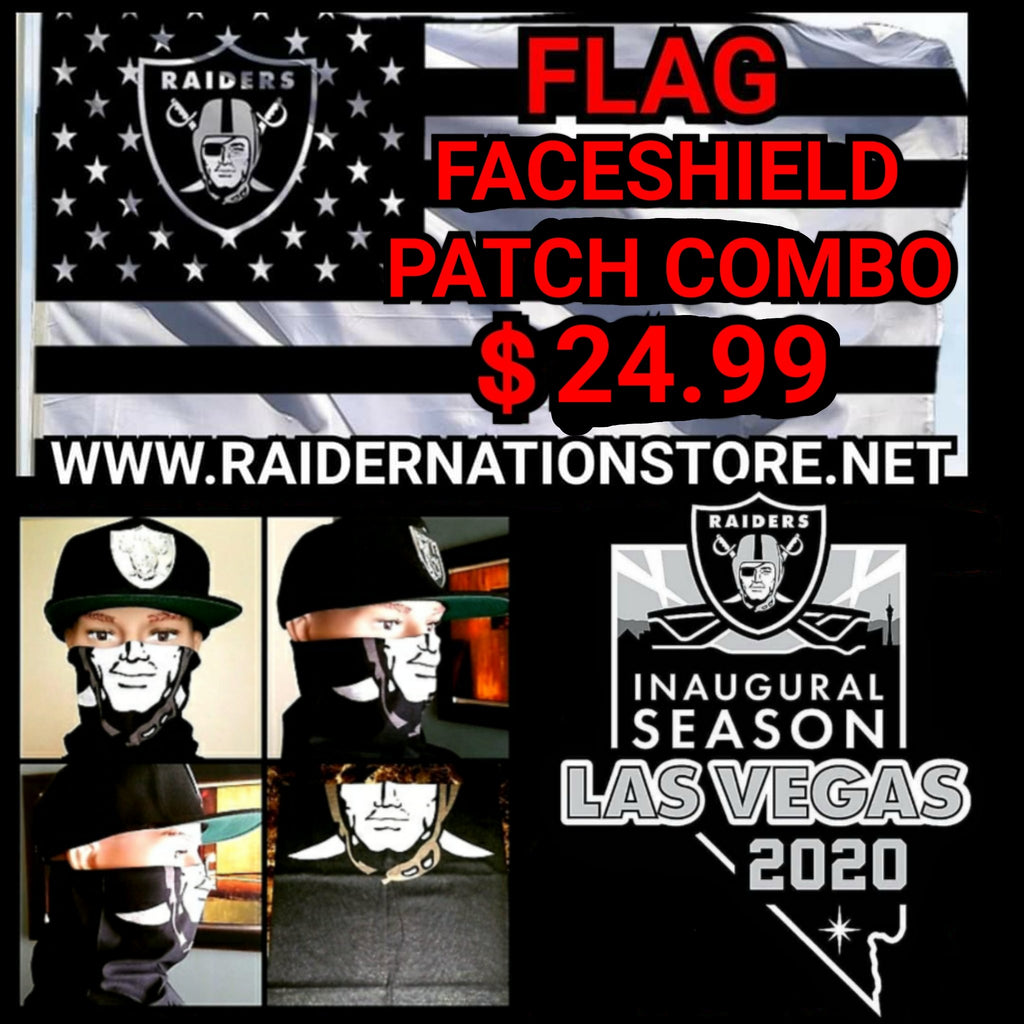RAIDERS FLAG FACESHIELD PATCH COMBO-RaiderNationStore