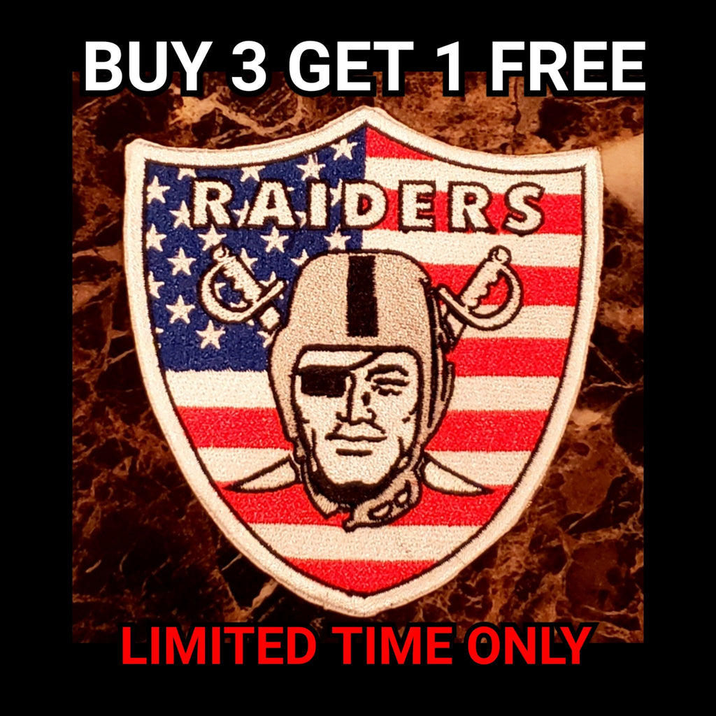 RAIDERS US FLAG PATCH-RaiderNationStore