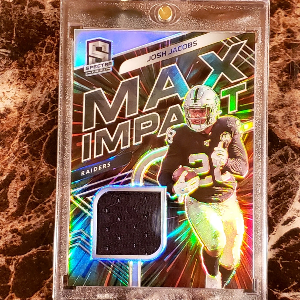JOSH JACOBS MAX IMPACT RELIC PATCH CARD 1/75