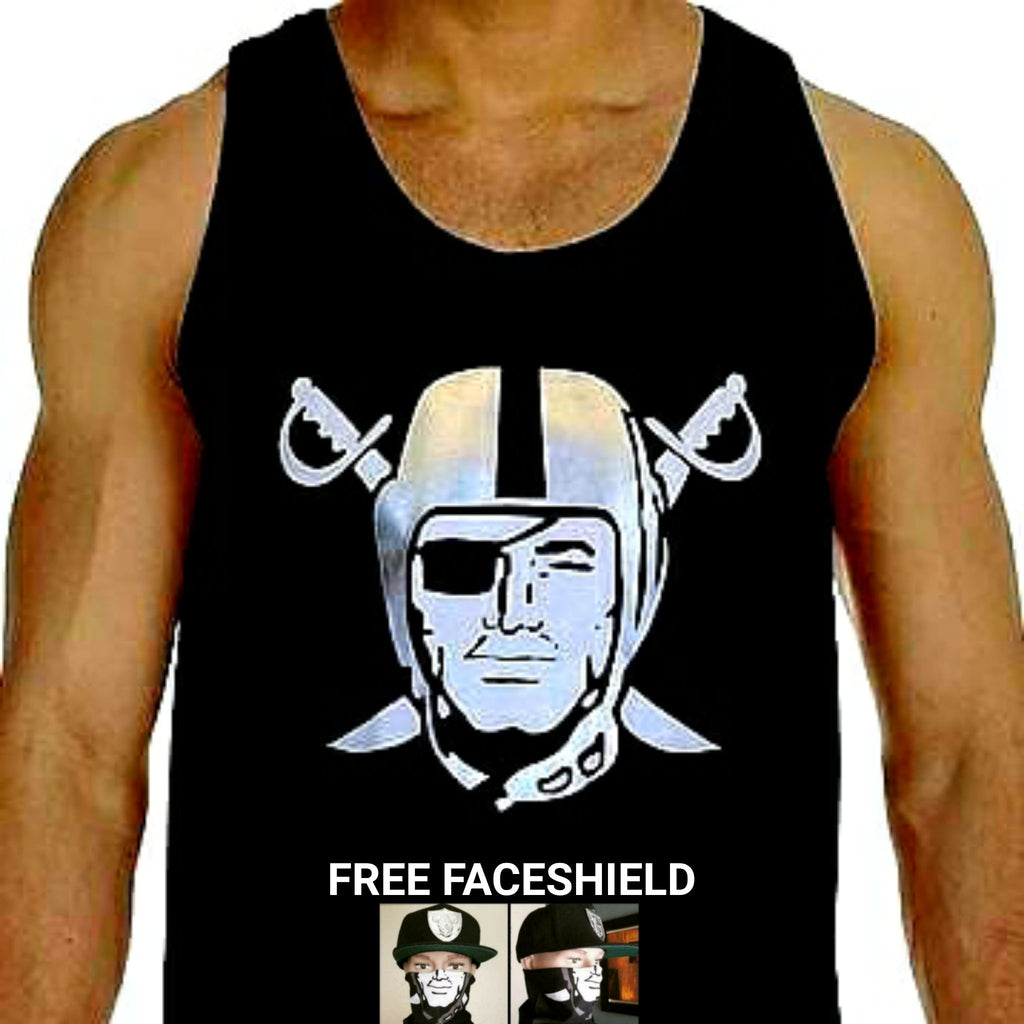 RAIDERS SILVER PLATED BLACK TANK TOP
