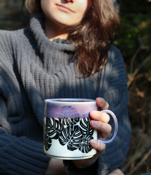 Purple Monstera Mug