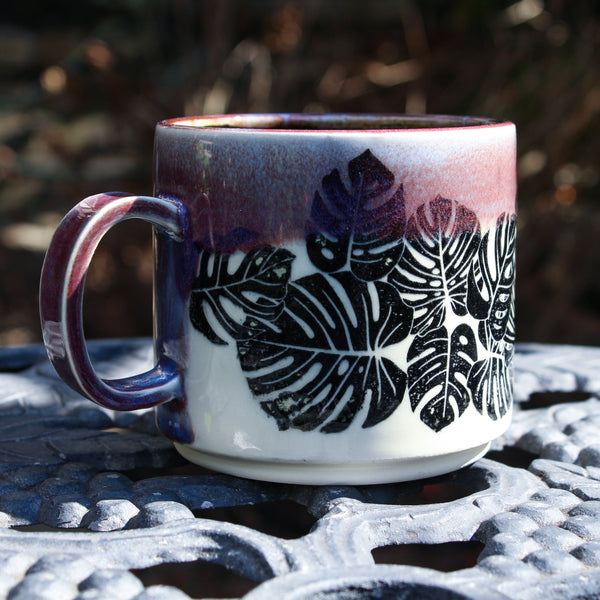 Purple Monstera Mug Second