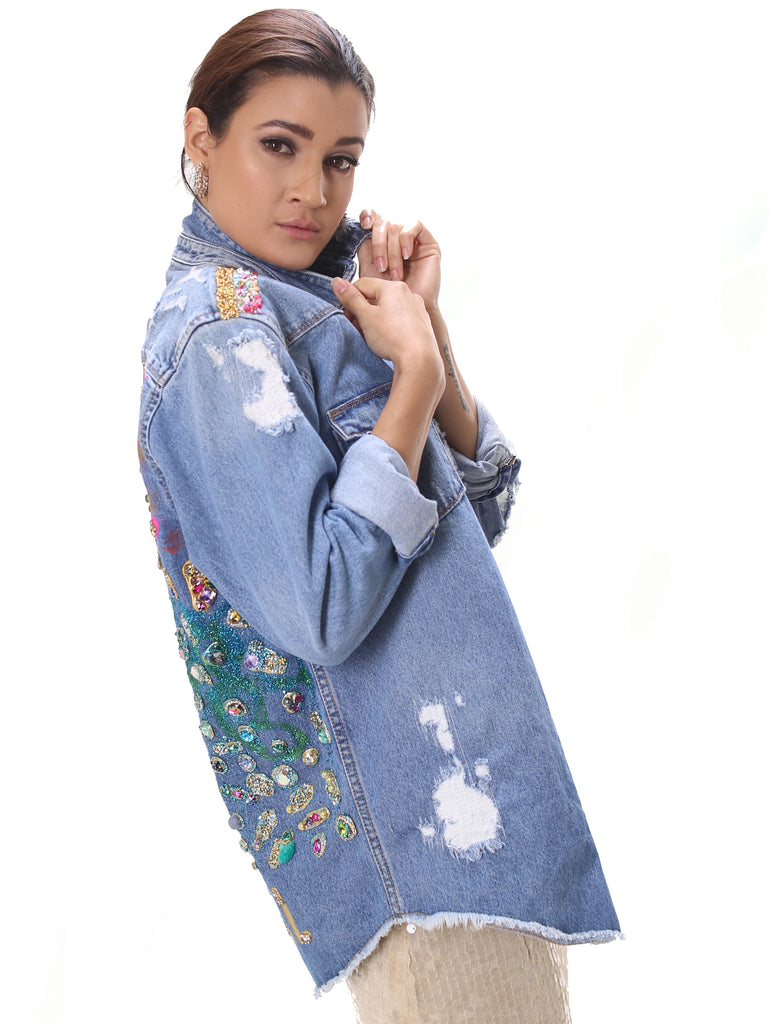 "The ""Tropical"" Embellished Denim Jacket"