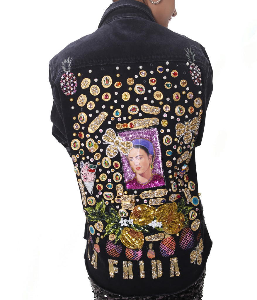 Black Embellished Denim Jacket ''La Frida''