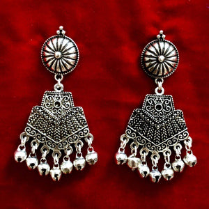Traditional Oxidized Silver Plated Earrings For Women And Girls