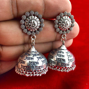 Oxidized Radhe Krishna Mantra Handmade Jhumka In Temple Style For Girls