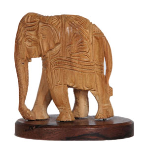 Brahma Crafts Handmade Sandalwood Carved Elephant 1.5 Inch