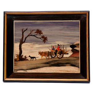 "Rosewood bullock cart design wall panel - size 18"" x 24"" inches"