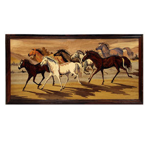 "Rosewood horse wall panel - size 18"" x 36"" inches"