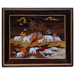 "Rosewood elephants wall panel - size 18"" x 24"" inches"