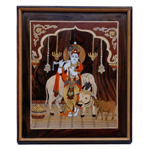 "Rosewood cow Krishna wall panel- size 16"" x 19"" inches"