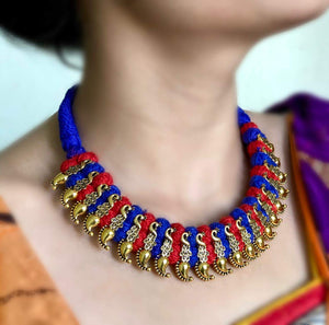 Kolhapuri Necklace With Red Blue Thread Work