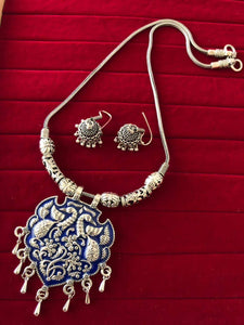 German Silver Meenakari Work Necklace With Earrings For Women