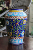 Blue Pottery Handmade Sky Blue Yellow Flower Antique Vase 10L*5W Inch